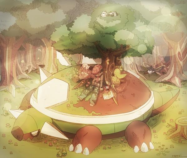 Tags: Anime, Pixiv Id 695792, Pokémon, Wurmple, Clefairy, Kricketot, Silcoon, Buneary, Beautifly, Starly, Torterra, Budew, Kouki (Pokémon)