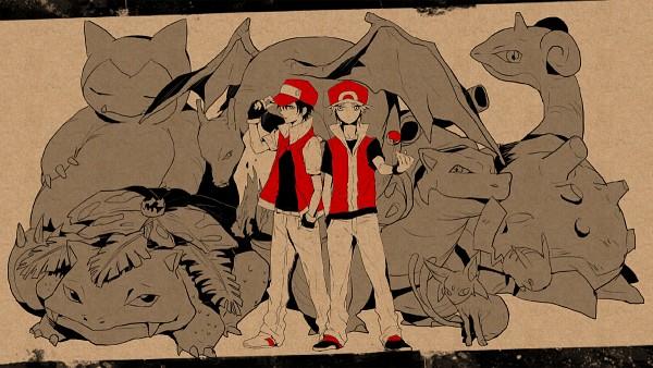 Tags: Anime, Ichikawa Ichi, Pokémon, Blastoise, Espeon, Venusaur, Pikachu, Charizard, Red (Pokémon FireRed and LeafGreen), Red (Pokémon), Snorlax, Lapras, Sketch