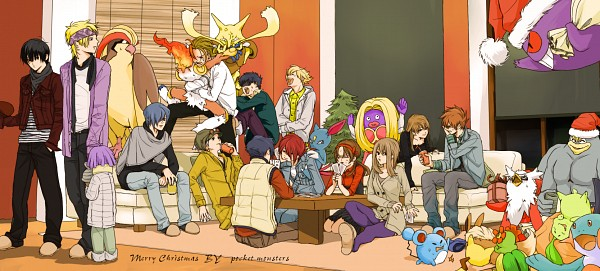 Tags: Anime, Pixiv Id 1169389, Pokémon, Chikorita, Kouki (Pokémon), Delibird, Pikachu, Matsuba (Pokémon), Infernape, Hayato (Pokémon), Green (Pokémon), Sneasel, Gengar