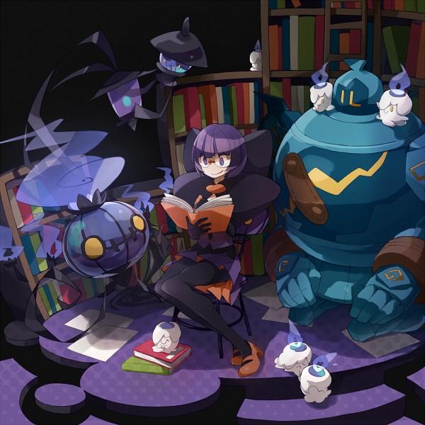 Tags: Anime, 801yamaarashi, Pokémon, Lampent, Golurk, Litwick, Shikimi (Pokémon), Chandelure, Dark Colors, Fanart From Pixiv, Pixiv, Fanart