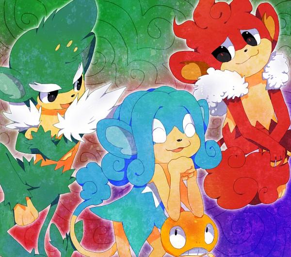 Tags: Anime, Pokémon, Simisage, Simisear, Scraggy, Simipour, Elbow On Head