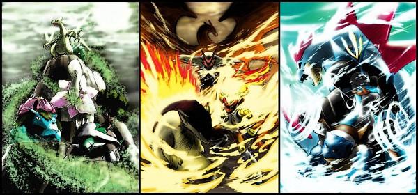 Tags: Anime, Yamaguchi Yoshimi, Pokémon, Torterra, Sceptile, Meganium, Empoleon, Feraligatr, Blaziken, Venusaur, Infernape, Blastoise, Charizard