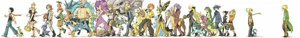 Tags: Anime, Pixiv Id 372388, Pokémon, Pikachu, Girafarig, Denji (Pokémon), Kurotsugu (Pokémon), Tougan (Pokémon), Glaceon, Momi (Pokémon), Natane (Pokémon), Beautifly, Steelix