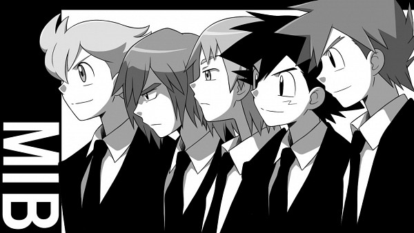 Tags: Anime, Cyaneko, Pokémon, Shooti (Pokémon), Shinji (Pokémon), Jun (Pokémon), Green (Pokémon), Satoshi (Pokémon), Men In Black (Parody), Movie Parody, Pixiv, Facebook Cover, Wallpaper