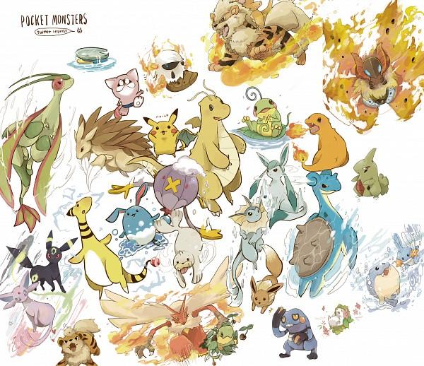 Tags: Anime, Pixiv Id 662731, Pokémon, Shaymin, Eevee, Turtwig, Larvesta, Vaporeon, Mudkip, Politoed, Lotad, Azumarill, Seel