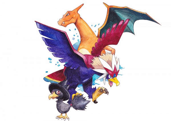 Tags: Anime, Pixiv Id 867945, Pokémon, Braviary, Murkrow, Charizard, Fanart, Pixiv, Fanart From Pixiv
