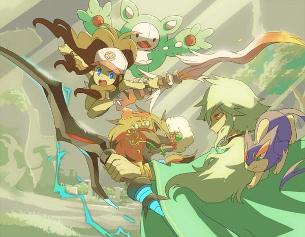 Tags: Anime, Sen Pic, Pokémon, Touko (Pokémon), Whimsicott, Zoroark, Purrloin, N (Pokémon), Reuniclus, Fanart, Pixiv, Fanart From Pixiv
