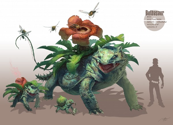 Tags: Anime, Arvalis, Pokémon, Nincada, Ninjask, Venusaur, Ivysaur, Bulbasaur, Wasp, Fanart