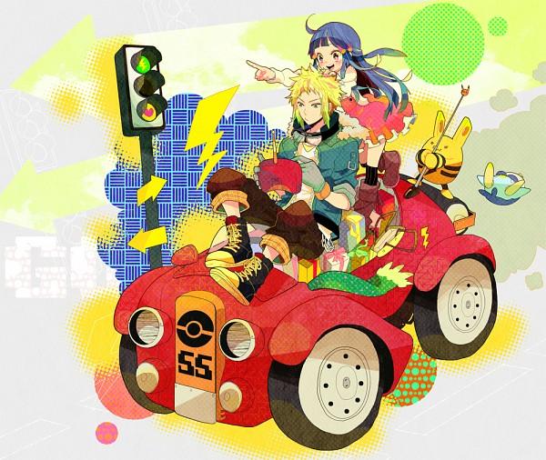 Tags: Anime, Pomeko, Pokémon, Elekid, Denji (Pokémon), Piplup, Hikari (Pokémon), Traffic Light, Pixiv, Fanart, Fanart From Pixiv