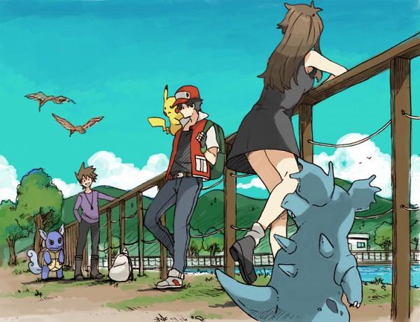 Tags: Anime, Pixiv Id 2075811, Pokémon, Wartortle, Green (Pokémon), Leaf (Pokémon), Nidorina, Red (Pokémon), Fearow, Pikachu, Pixiv, Fanart From Pixiv, Fanart