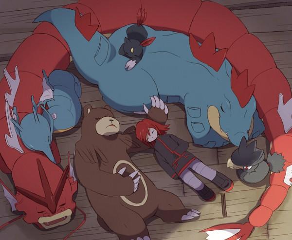 Tags: Anime, Otoufu (Nenne), Pokémon SPECIAL, Pokémon, Silver (Pokémon SPECIAL), Ursaring, Feraligatr, Kingdra, Sneasel, Gyarados, Murkrow, Pixiv, Fanart From Pixiv