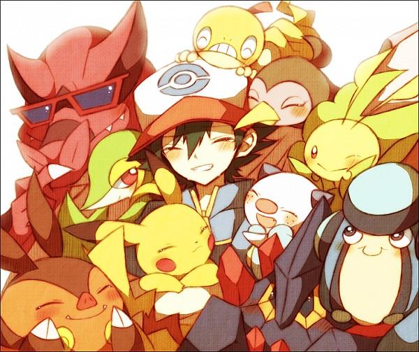 Tags: Anime, Pixiv Id 1393834, Pokémon, Oshawott, Palpitoad, Pignite, Scraggy, Tranquill, Unfezant, Satoshi (Pokémon), Krookodile, Boldore, Pikachu