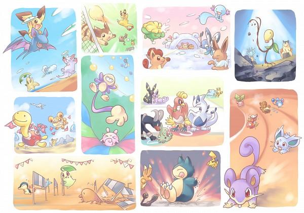 Tags: Anime, Pokémon, Diglett, Ampharos, Wingull, Typhlosion, Hitmonlee, Teddiursa, Bidoof, Pikachu, Cyndaquil, Aipom, Hoppip