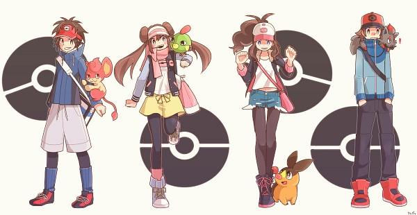 Tags: Anime, Pixiv Id 756524, Pokémon, Touko (Pokémon), Tepig, Zorua, Pansear, Mei (Pokémon), Kyouhei, Natu, Touya (Pokémon), Facebook Cover, Pixiv