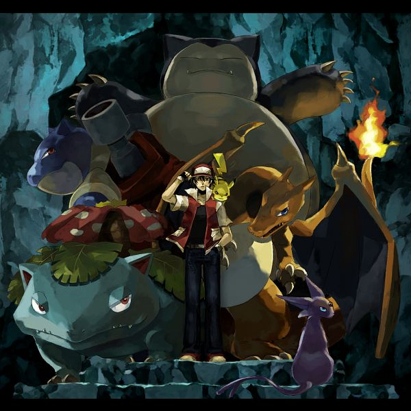 Tags: Anime, Usao (313131), Pokémon, Espeon, Blastoise, Pikachu, Venusaur, Charizard, Red (Pokémon), Snorlax, Cave, Fanart, Fanart From Pixiv