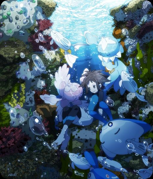 Tags: Anime, Pixiv Id 695792, Pokémon, Remoraid, Mantyke, Mantine, Frillish, Kyouhei, Seaweed, Coral