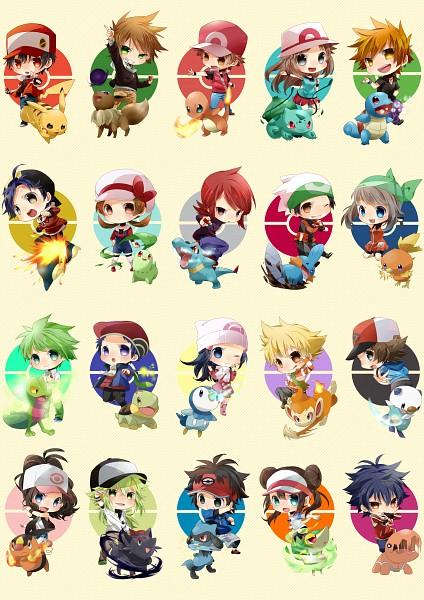 Tags: Anime, Hajime (Pixiv5118392), Pokémon, Kouki (Pokémon), N (Pokémon), Eevee, Touya (Pokémon), Totodile, Riolu, Mitsuru (Pokémon), Chikorita, Bulbasaur, Touko (Pokémon)