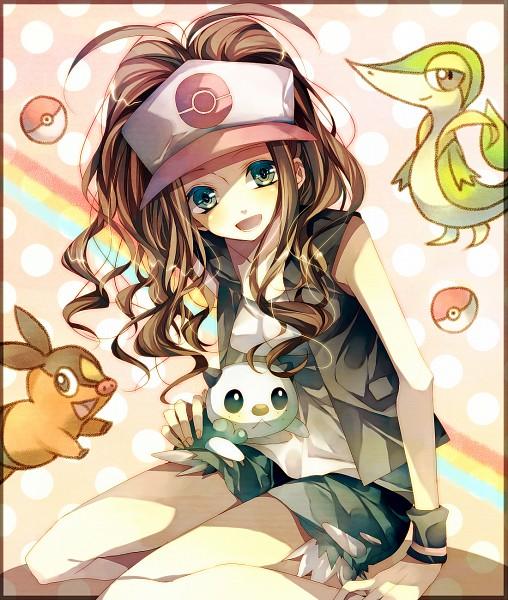 Tags: Anime, Tsukioka Tsukiho, Pokémon, Touko (Pokémon), Snivy, Oshawott, Tepig, PNG Conversion, Fanart, Pixiv