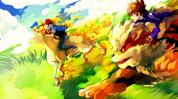 Tags: Anime, Sa-dui, Pokémon, Satoshi (Pokémon), Arcanine, Rapidash, Green (Pokémon), Fanart From DeviantART, deviantART, Wallpaper, Facebook Cover, Fanart