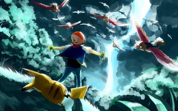Tags: Anime, Sa-dui, Pokémon, Satoshi (Pokémon), Pikachu, Spearow, Fanart, deviantART, Fanart From DeviantART, Wallpaper