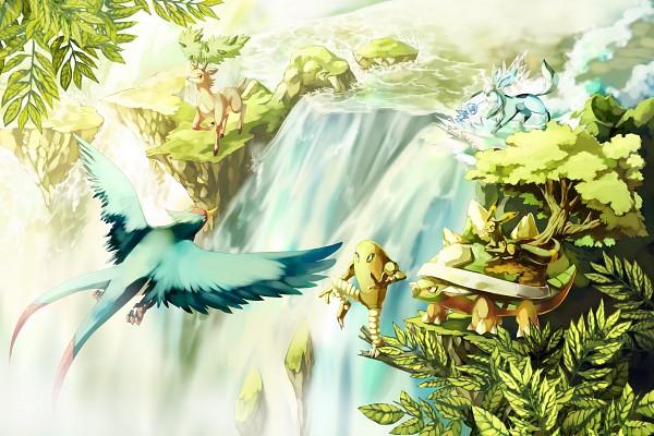 Tags: Anime, Sa-dui, Pokémon, Glaceon, Hitmonlee, Umbreon, Sawsbuck, Swellow, Torterra, Waterfall, Deer, Fanart, deviantART
