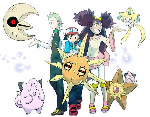 Tags: Anime, Teppo, Pokémon, Cleffa, Staryu, Jirachi, Iris (Pokémon), Satoshi (Pokémon), Dento (Pokémon), Lunatone, Clefable, Solrock, Legendary Pokémon