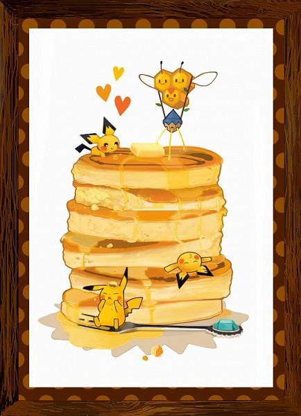 Tags: Anime, Pixiv Id 736702, Pokémon, Pichu, Pikachu, Combee, Jam, Pancakes, Mobile Wallpaper, Fanart, Fanart From Pixiv, Pixiv