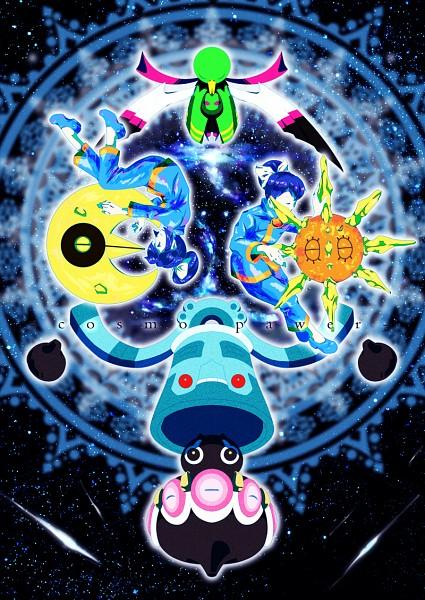 Tags: Anime, Pixiv Id 3062346, Pokémon, Bronzong, Fuu (Pokémon), Lunatone, Ran (Pokémon), Solrock, Claydol, Xatu, Fanart, Mobile Wallpaper, Pixiv