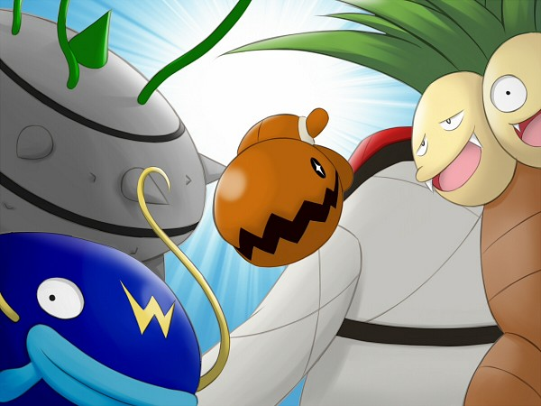 Tags: Anime, H.One, Pokémon, Exeggutor, Throh, Whiscash, Ferrothorn, Trapinch, Pixiv, Fanart, Fanart From Pixiv