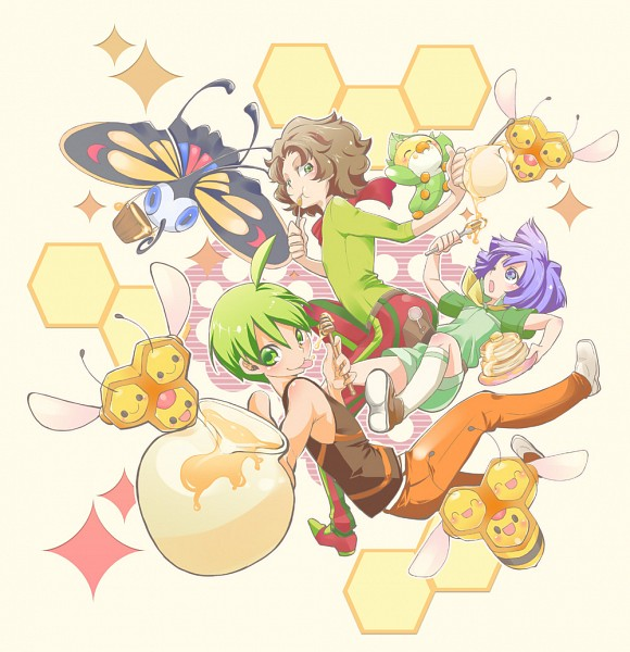 Tags: Anime, Pixiv Id 4486233, Pokémon, Arty (Pokémon), Sewaddle, Tsukushi (Pokémon), Combee, Beautifly, Ryou (Pokémon), Honey Jar, Pancakes, Honey, Honeycomb Pattern