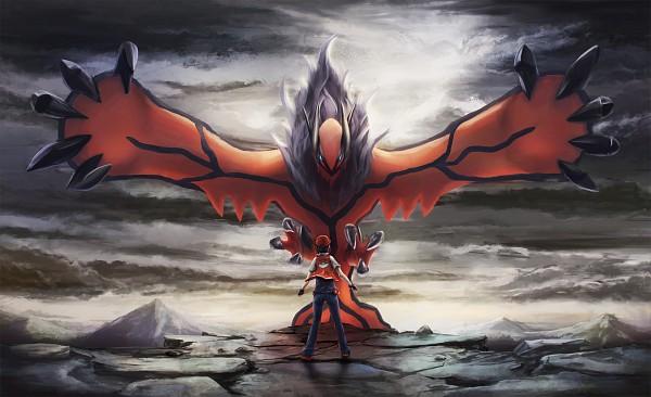 Tags: Anime, Pixiv Id 2021734, Pokémon, Red (Pokémon), Yveltal, Legendary Pokémon, Fanart, Pixiv, Fanart From Pixiv, Wallpaper