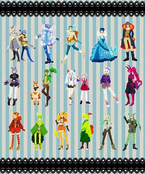 Tags: Anime, Pixiv Id 451009, Pokémon, Drifloon, Togekiss, Leafeon, Natu, Typhlosion, Vaporeon, Rayquaza, Scolipede, Torterra, Darumaka