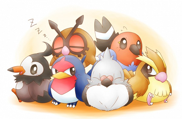 Tags: Anime, Pixiv Id 510253, Pokémon, Pidove, Pidgey, Taillow, Fletchling, Starly, Hoothoot, Zzz, Fanart, Fanart From Pixiv, Pixiv