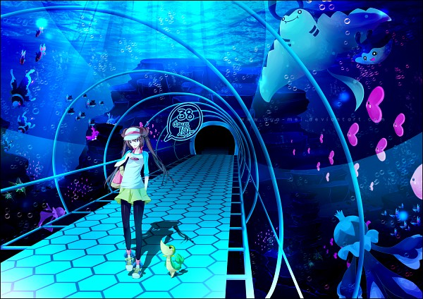 Tags: Anime, Aya-mei, Pokémon, Snivy, Corsola, Mantyke, Mantine, Finneon, Lumineon, Mei (Pokémon), Staryu, Luvdisc, Frillish