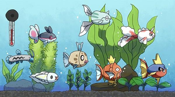 Tags: Anime, Pixiv Id 886842, Pokémon, Goldeen, Magikarp, Carvanha, Tynamo, Finneon, Remoraid, Barboach, Feebas, Fish Bowl, Pixiv