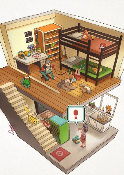 Tags: Anime, Pixiv Id 370419, Pokémon, Leaf (Pokémon), Eevee, Red (Pokémon), Pikachu, Fire (Pokémon), Charmander, Bulbasaur, Squirtle, Green (Pokémon), Mew