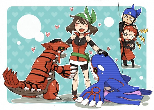 Tags: Anime, Pixiv Id 421208, Pokémon, Haruka (Pokémon), Matsubusa (Pokémon), Aogiri (Pokémon), Ditto, Kyogre, Groudon, Semi Chibi, Fanart From Pixiv, Legendary Pokémon, Pixiv