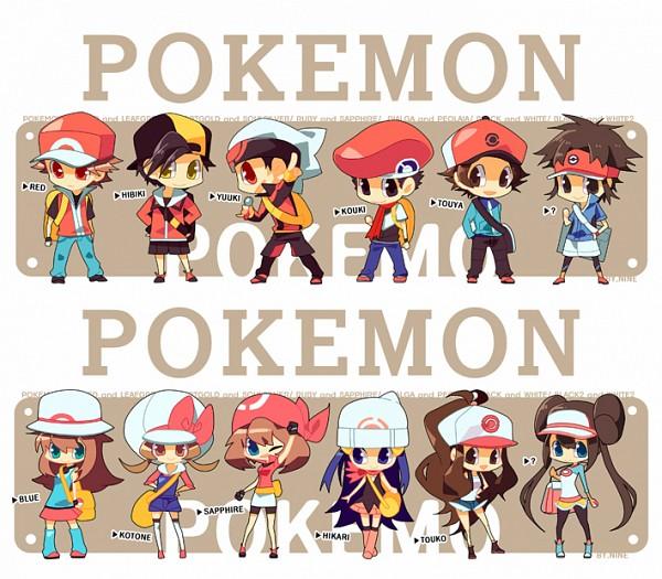 Tags: Anime, NINE (Sapphire), Pokémon, Yuuki (Pokémon), Hibiki (Pokémon), Kouki (Pokémon), Mei (Pokémon), Haruka (Pokémon), Leaf (Pokémon), Hikari (Pokémon), Kyouhei, Red (Pokémon), Touya (Pokémon)