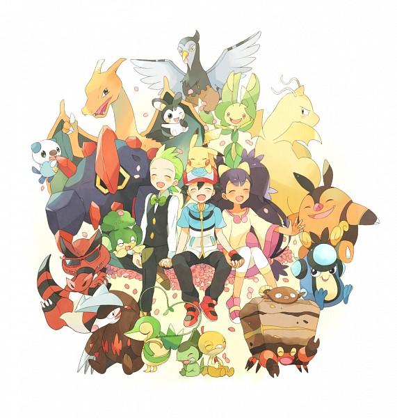 Tags: Anime, May (Pixiv Id 233774), Pokémon, Iris (Pokémon), Oshawott, Satoshi (Pokémon), Palpitoad, Krookodile, Pansage, Pignite, Pikachu, Excadrill, Crustle