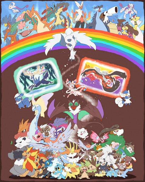 Tags: Anime, Pixiv Id 216893, Pokémon, Swirlix, Absol, Fennekin, Meowstic, Noivern, Malamar, Garchomp, Skiddo, Xerneas, Furfrou
