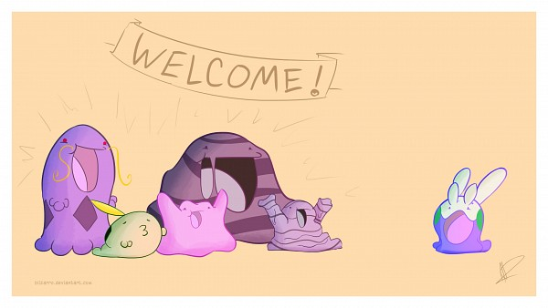 Tags: Anime, Blizarro, Pokémon, Grimer, Muk, Ditto, Swalot, Goomy, Gulpin, deviantART, Facebook Cover, Wallpaper, Fanart