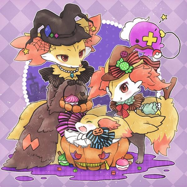 Tags: Anime, Biyon, Pokémon, Fennekin, Delphox, Drifloon, Braixen, Fanart, Fanart From Pixiv, Pixiv