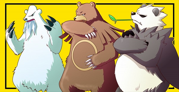 Tags: Anime, Pixiv Id 2635298, Pokémon, Beartic, Ursaring, Pangoro, Fanart From Pixiv, Fanart, Facebook Cover, Pixiv