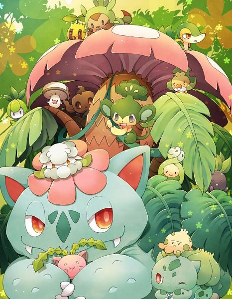 Tags: Anime, 0328uppi, Pokémon, Hoppip, Snivy, Pansage, Chespin, Venusaur, Sewaddle, Oddish, Bulbasaur, Shroomish, Budew