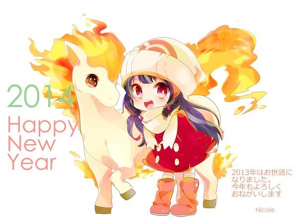Tags: Anime, Sako U, Pokémon Diamond & Pearl, Pokémon, Ponyta, Hikari (Pokémon), Pixiv, Fanart From Pixiv, Wallpaper, Fanart, Happy 2014