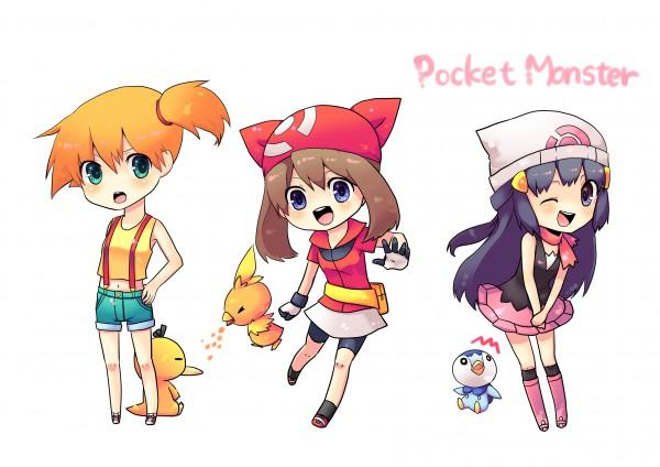 Tags: Anime, Pokémon, Piplup, Hikari (Pokémon), Kasumi (Pokémon), Torchic, Psyduck, Haruka (Pokémon), 1400x1050 Wallpaper, Wallpaper