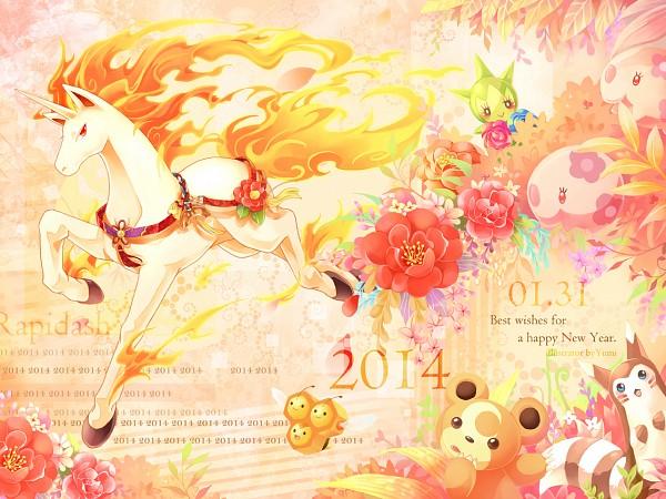 Tags: Anime, Leiy1225, Pokémon, Teddiursa, Roselia, Combee, Rapidash, Munna, Furret, Fanart, Fanart From Pixiv, Pixiv, Happy 2014