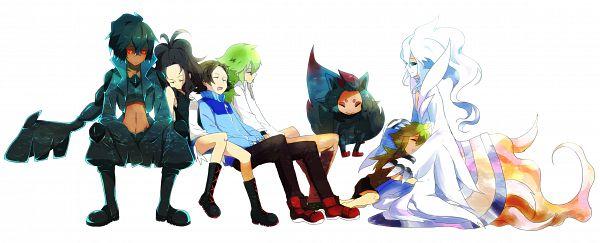 Tags: Anime, Imiya Kaminari, Pokémon, Zekrom, Reshiram, Touko (Pokémon), Zorua, Touya (Pokémon), N (Pokémon), Dragon Wings, Facebook Cover, Pixiv, PNG Conversion