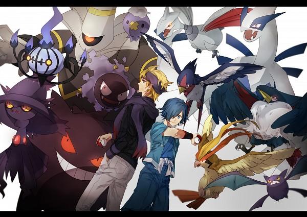 Tags: Anime, Pixiv Id 4809348, Pokémon, Gastly, Dusknoir, Crobat, Honchkrow, Hayato (Pokémon), Swellow, Drifloon, Skarmory, Pidgeot, Matsuba (Pokémon)
