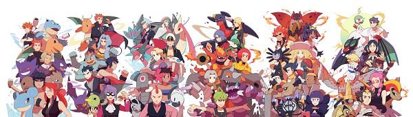 Tags: Anime, Pixiv Id 2493341, Pokémon, Ryou (Pokémon), Adeku, Wataru (Pokémon), Genji (Pokémon), Tsuwabuki Daigo, Dracaena, Haunter, Rhyperior, Crobat, Walrein